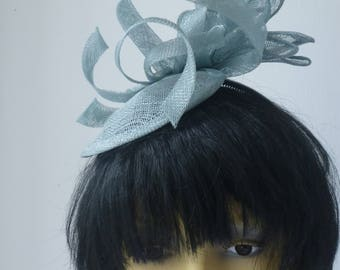 light Blue fascinator with vintage gem
