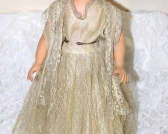 Vintage 1950s Debutante Doll - Vinyl Head with Sleep Eyes - Vinyl Arms and Legs - Marked on Back of Head with A - High Heel Feet