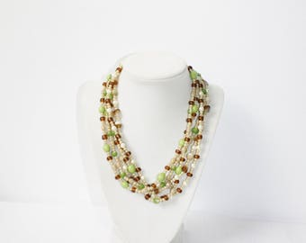 Vintage 5 Strand Glass Bead Necklace Multi Amber Plastic Spacers Lime Green White Faux Pearls Evening Day Wear