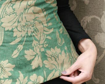 belt /serre size cotton/silk damask green and golden brown.