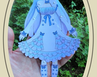 Crystal Articulated Paper Doll, Printable PDF, You Color
