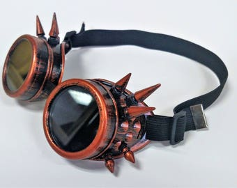 Copper Spiked Steampunk Goth Goggles