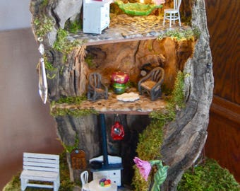 FOR MIKKI:  3 Story Fairy House with Furniture and Fairy Lights