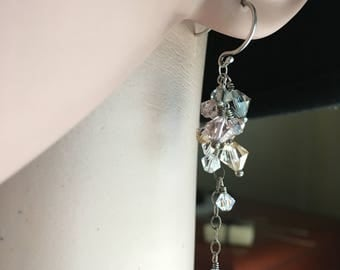 Crystal Cluster Earrings, Cascade Earrings, Pastel Swarovski Earrings, Sterling Silver, Romantic Wedding Earrings, Romantic Jewelry