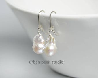 Spectacular Baroque Pearl Earrings on Lever Back Ear Wires, Flameball Pearl Earrings, Fireball Pearls, Wedding Earrings, Pearl Drops, FB10
