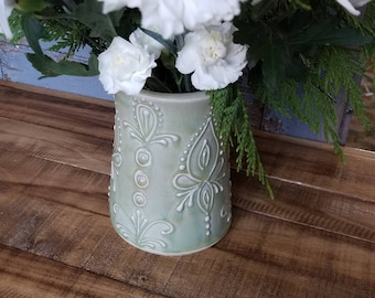 Vase, light green, decorative, unique gift for mom, christmas, hannukah, last minute, IN STOCK, Ready to Ship