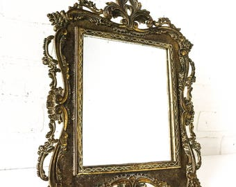 Vintage Brass Cast iron Victorian Mirror Antique Ornate Picture Frame