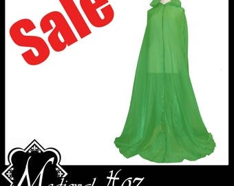 Beautiful Bright Green Shimmer Organza Cloak. Ideal for Halloween. Cyber Event Wedding. Brand New. SALE!