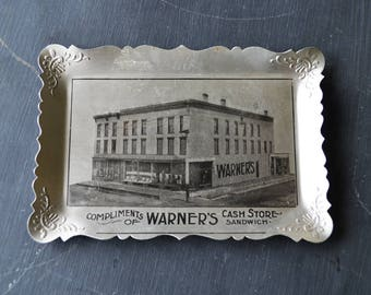 Early 1900's Advertising Giveaway | Antique Aluminum Tip Tray | Warner's Cash Store | Sandwich Illinois | Grocery Collectible