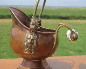 Primitive Copper Ceramic Handle Coal Scuttle Bucket with Brass Lion head Details  planter pot