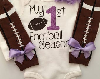 Baby Girl outfit -My 1st Football Season- baby girl outfit - football legwarmers - Newborn Football outfit - Preemie-24 month- Lavender