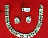 Classy Lover's gift Vintage Bling Rhinestone Bracelet  and Genuine Weiss Earrings Gift For Her.