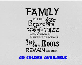 Family Roots Family Tree Wall Decal wall decor nursery decor kids room sticker self adhesive vinyl Custom quote decal design your own