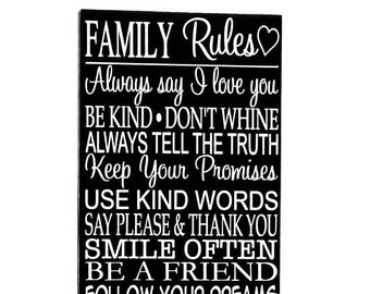 Family Rules Wall Art, Family Rules Wood Sign, Family Rules Wooden Sign, Family Rules Wooden, Wall Art Family, Wall Décor Family, Wall Art
