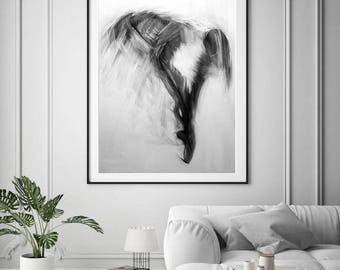 Gift for Her Stretched Canvas Print, Minimalist Abstract Print, Ballerina Art, Black and White Print on Canvas of Original Painting