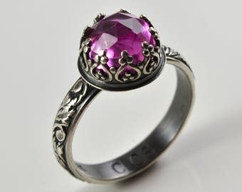 Pink Sapphire Ring in Sterling Silver, Faceted Pink Sapphire Gemstone, Statement Solitaire Promise Engagement Ring