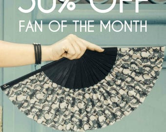 FOLDING HANDFAN | Romantic black lace print | unique gift for her | wedding accessories | bridal | Free Shipping Worldwide