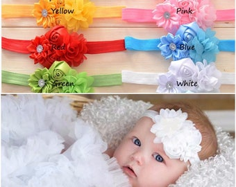 SET OF 5 headbands, Girl Headband, Baby girl Headband, newborn headband, satin rosette christening