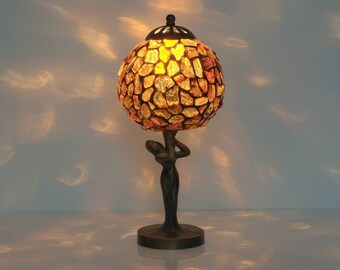 Small Table Lamp. Bedside lamp. Unique lamp. Lamp shade Baltic amber. Tiffany lamp Decorative lampshade. Unique gift. Stained glass lamp
