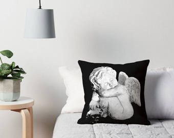 Cherub Throw Pillow, Cherub Print, Cherub Pillow, Angel Pillow, Angel Print, Angel Pillow Cover, Cherub Statue Print, Cherub Pillow Cover