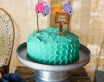 Gone Fishing Party Cake Topper OFishAlly Party Cake Topper