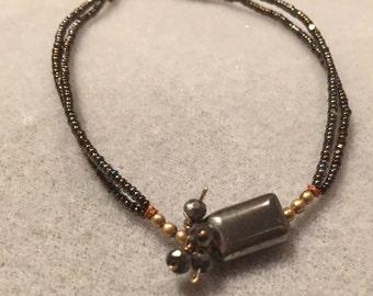 Hematite Centerpiece Double-Stranded Bracelet