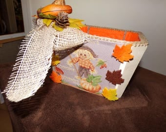 Octagonal wooden fall basket with cross stitch Embroidery