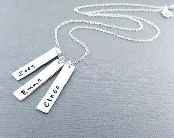 Mommy Necklace - Personalized Name Necklace - Aluminum and Sterling Silver Necklace - Name Bar Necklace - Gift for Mom