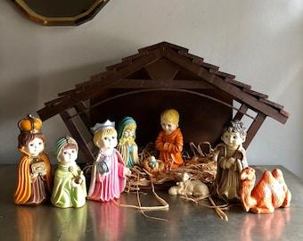 vintage large ceramic Nativity scene with wood manger Arnels 1975