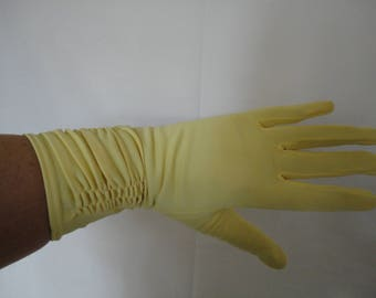 Vintage Yellow/Lemon Nylon Over Wrist Gloves with Cuff Detail by Morley - 1950s - Size 7 to 7.5 - Ideal Wedding/Prom/Races/Goodwood - Unworn