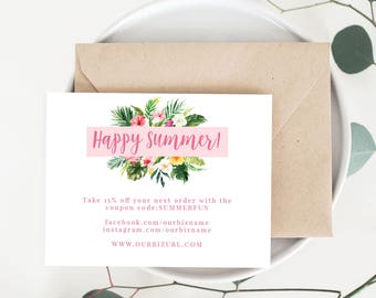 INSTANT Business Thank You Cards, Editable PDF Printable Packaging Inserts for Online Shops, Etsy Sellers, Calligraphy Style, Summer Palm