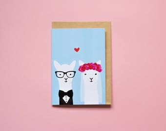 Wedding Llamas - Greeting card