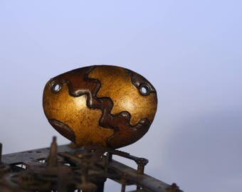steampunk leather eye patch , golden cogs (made to order)