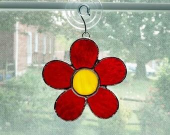 Stained Glass Flower Suncatcher, Red Flower, Daisy Suncatcher, Boho Flower, Hipster Flower, Get Well Gift, Hostess Gift, Housewarming Gift