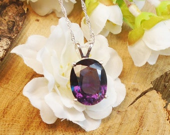 Certified Alexandrite Necklace, June Birthstone, Solid Sterling Silver, Huge 13.50 Ct 14.73 x 11.66 mm Natural Alexandrite Color Changing