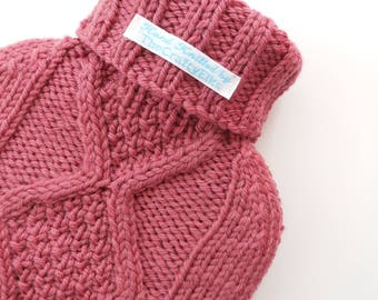TheCraftyElks: Hand Knitted Hot Water Bottle Cover (Cosy) in Rhubarb - 100% Merino Wool