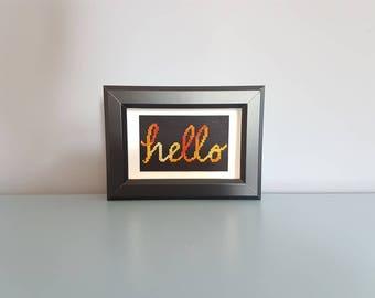 Hello - Framed Cross Stitch