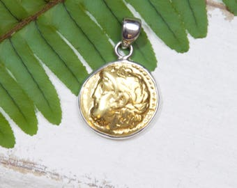 Gold Coin Pendant - Zeus - Greek Mythology - 925 Sterling Silver- 18k