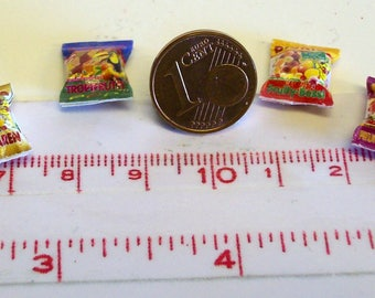 6014# 4 miniature packs with sweets - Doll house miniature scale 1/12