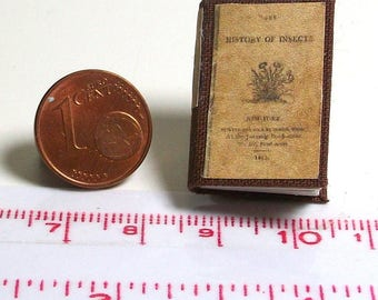 1236# History of insects - miniature book of 1813 - Doll house miniature in scale 1/12