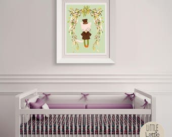 Clive Cat – a printable cat wall art poster with a beautiful flowered wreath.  Perfect for a hipster, woodland nursery.