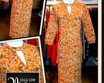 Vintage Orange Floral Abstract Print Knit Sheath Shift Dress Goldworm Made in Italy FREE SHIPPING