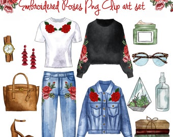 INSTANT DOWNLOAD - Embroidered roses and denim - png clipart set