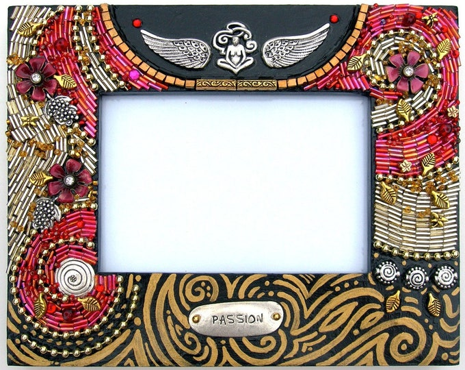 Passion Garden Beaded Wood Frame