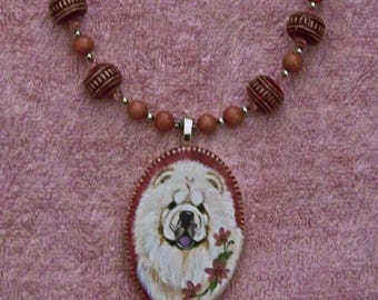 Hand painted Cream Chow ceramic necklace