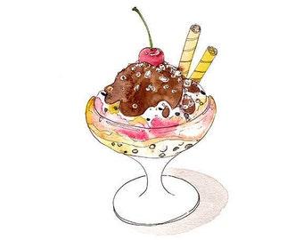 Ice Cream Sundae Watercolor Art Print