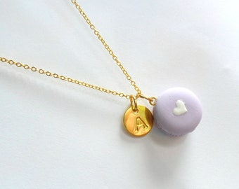 Macaron with Heart Initial Necklace, Gold Plated, Cute! :)