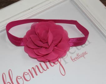 Shocking Pink Chiffon Flower Headband