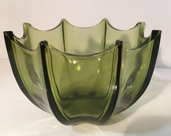 Umbrella Bowl Candy Dish Vintage Avocado Green