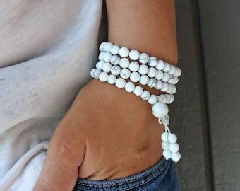 108 Mala Bead Bracelet, Gemstone Bracelet, Mala Bead Meditation Yoga Bracelet, Bead Bracelet, Womens Gift Ideas, Handmade Jewelry, Teen Gift